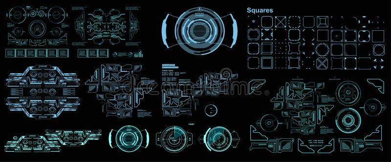 Interface de usu?rio gr?fica virtual futurista do toque de HUD, alvo HUD Dashboard Display ilustração stock