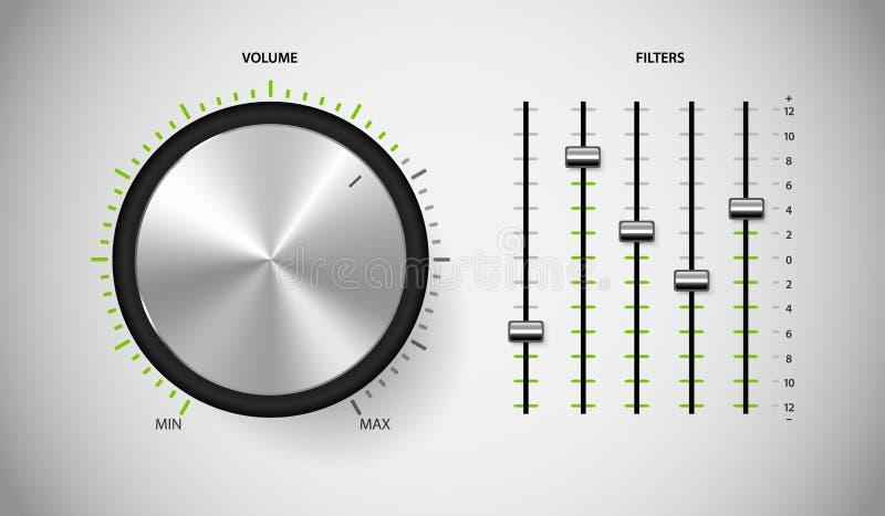 Interface de utilizador do controle dos meios do DJ. ilustração do vetor