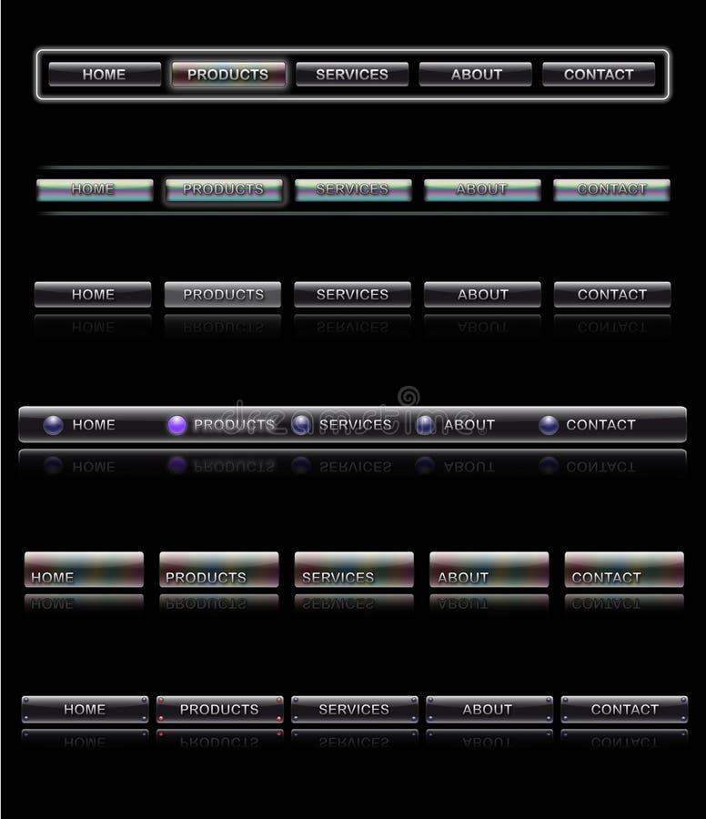 Interface de utilizador do Web site, moldes da navegação ilustração royalty free