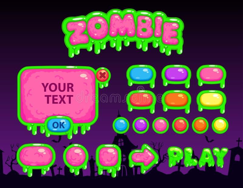 Interface de utilizador do zombi dos desenhos animados ilustração stock