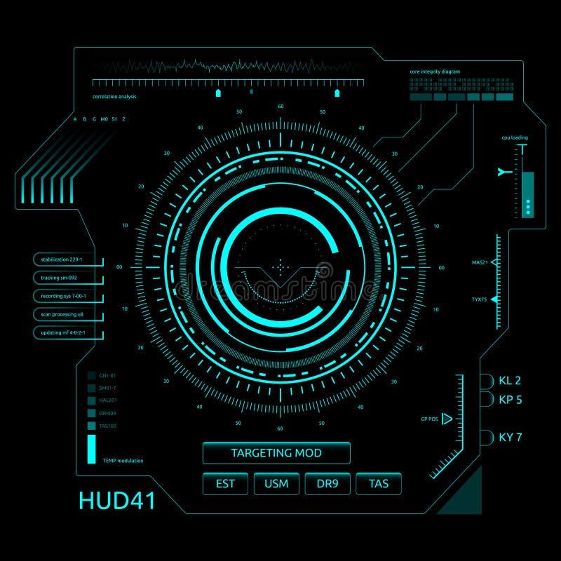 Interface de utilizador futurista HUD do tela táctil ilustração royalty free