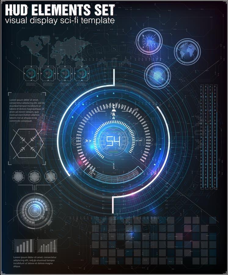 Interface de utilizador futurista HUD UI Interface de utilizador gráfica virtual abstrata do toque r Sumário da ciência do vetor ilustração royalty free