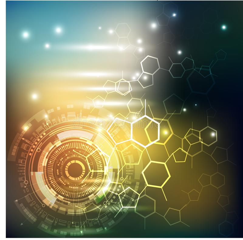 Interface de utilizador futurista de Sci fi Teste padrão abstrato do hexágono Conceito futuro novo da tecnologia ilustração royalty free