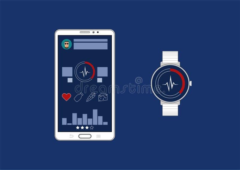 Interface de utilizador gráfica do app do perseguidor da aptidão para o smartwatch e o smartphone ilustração royalty free