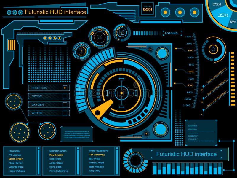 Interface de utilizador gráfica HUD do toque ilustração stock
