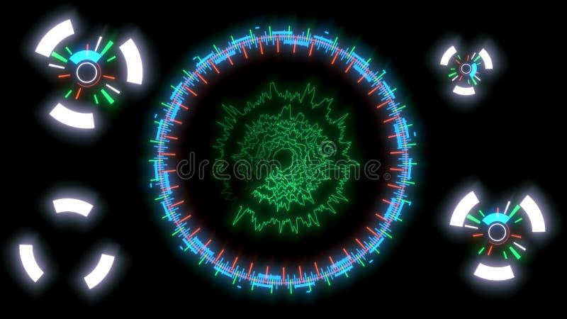 Interface de utilizador gráfica, linhas em um fundo azul, rendição 3d ilustração royalty free
