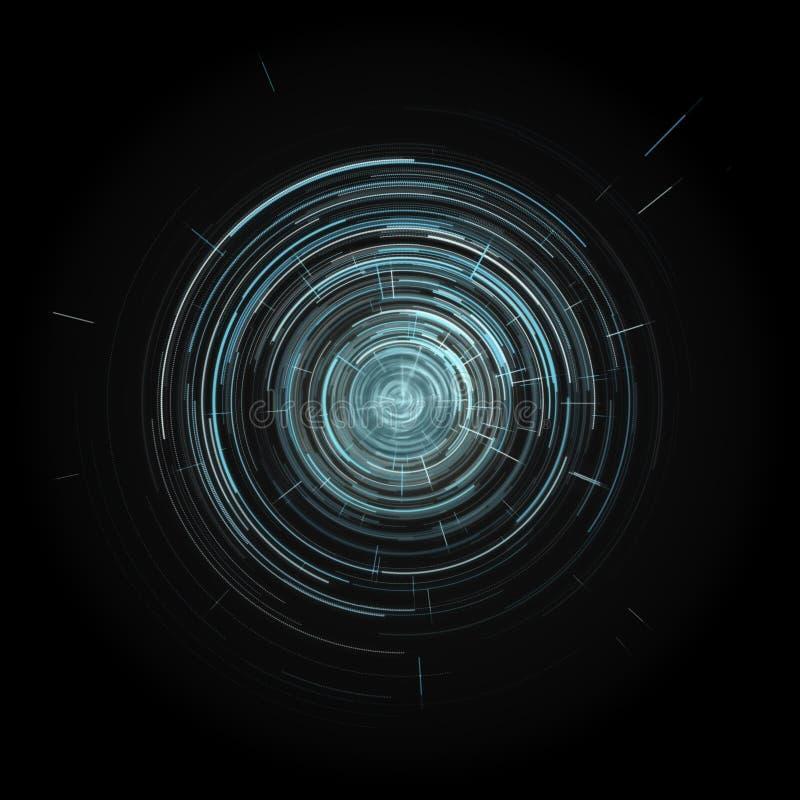 Interface de utilizador gráfica virtual azul futurista HUD do toque sobre o fundo preto ilustração royalty free