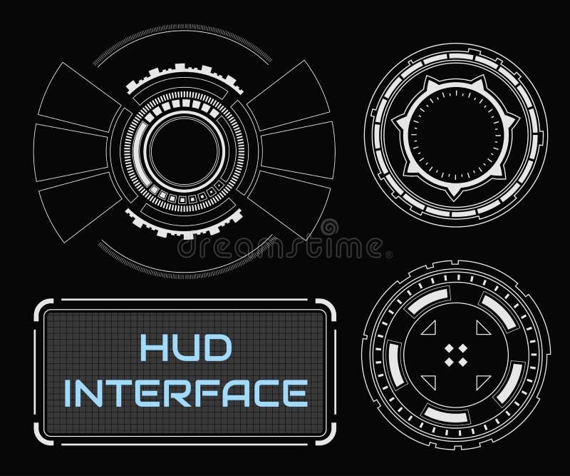 Interface de utilizador gráfica virtual branca futurista do toque do conceito ilustração do vetor
