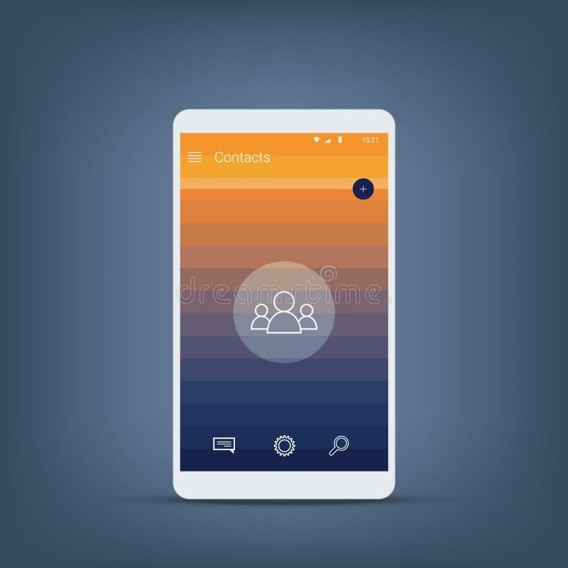 Interface de utilizador móvel para a tela dos contatos no estilo material moderno do projeto Ícones e fundo do vetor ilustração do vetor