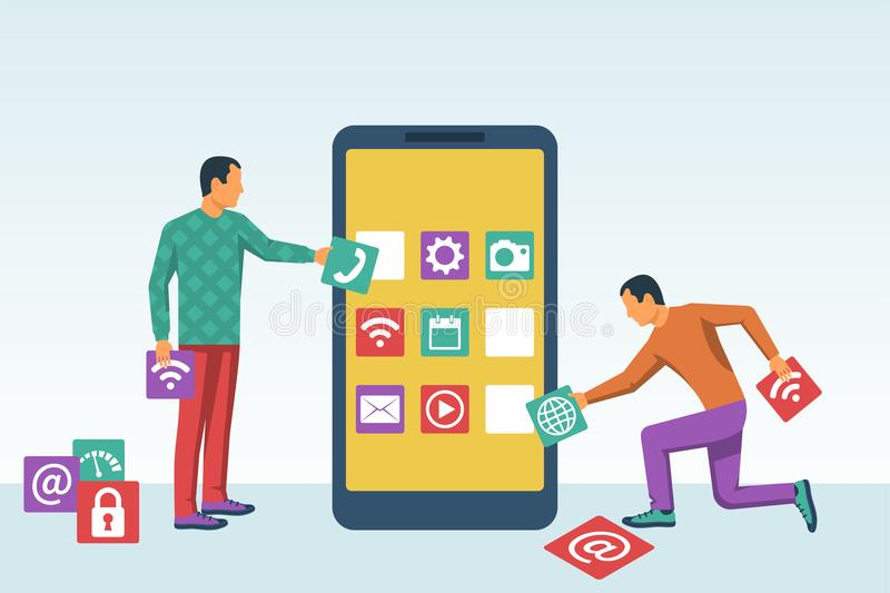 Interface development, design mobile app. Mobile technology. Team small people, programmer building application blocks on screen of smartphone. Vector flat vector illustration