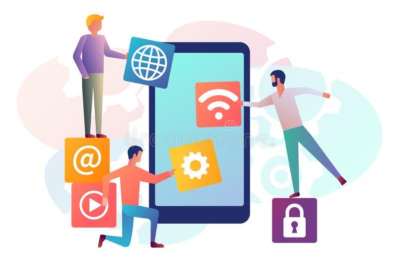 Interface development, design mobile app. Mobile technology. Team small people, programmer building application blocks on screen of smartphone. Vector flat vector illustration