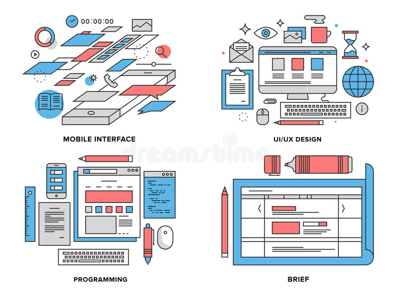 Interface development flat line illustration. Flat line illustration set of mobile user interface development, UI and UX optimization, web coding, brief planning vector illustration