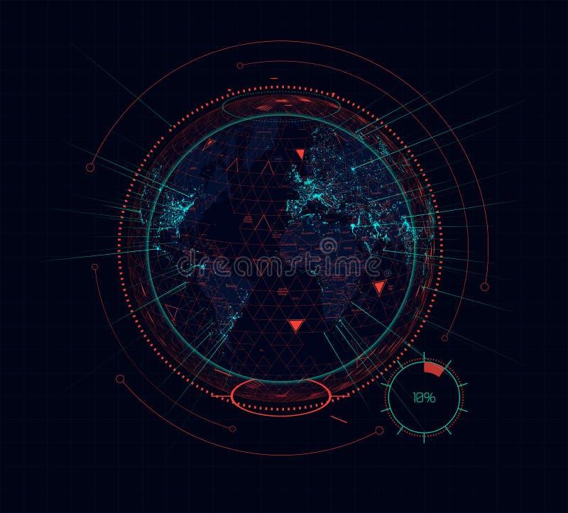 Interface futuriste de la terre de Digital de la science fiction olographe de globe Vecteur illustration libre de droits