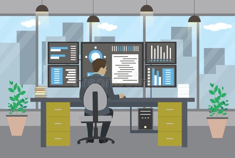 Interface gestionnaire travaillant dans le bureau moderne illustration de vecteur