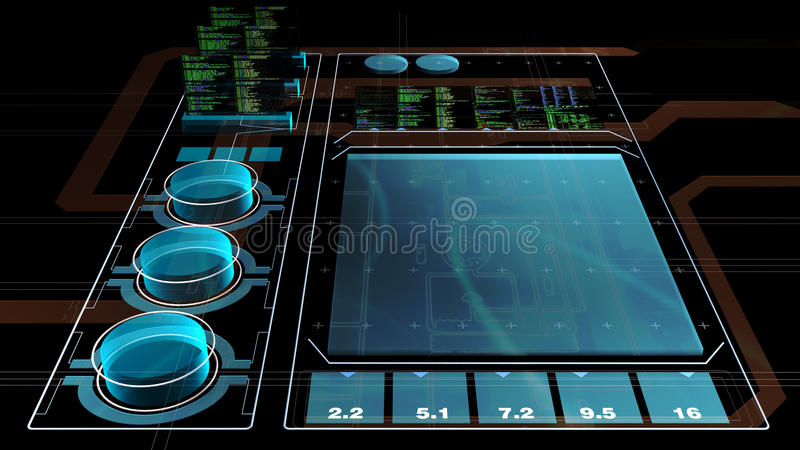 Interface. Holographic blue computer 3D interface, in perspective view vector illustration