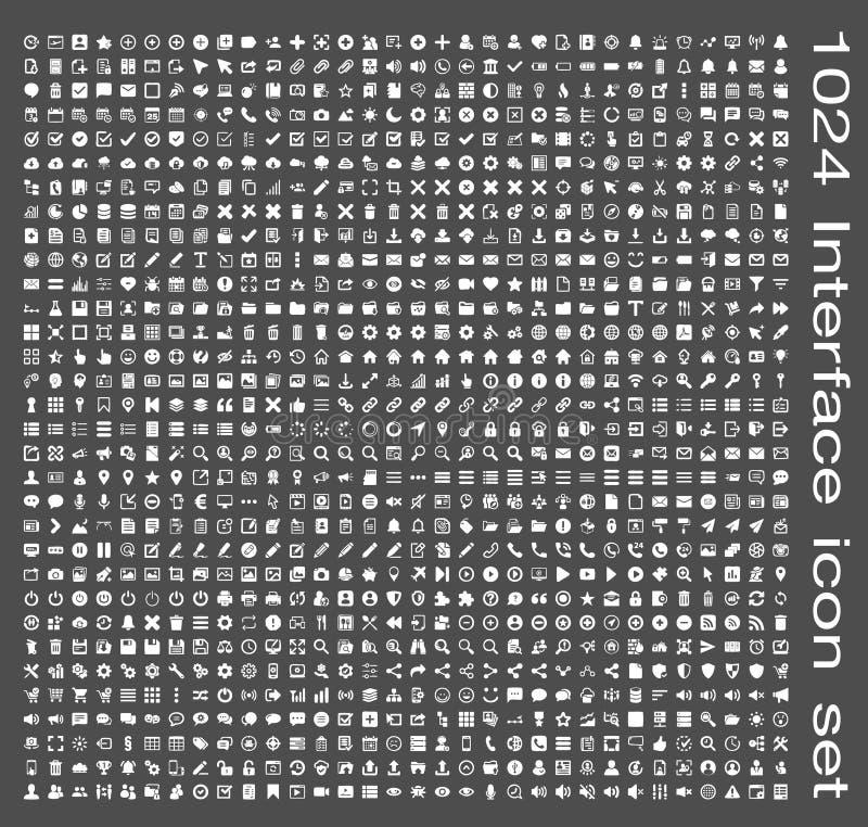 Interface icon set. 1024 Interface icon super set vector illustration