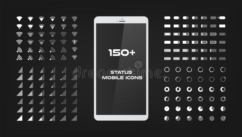 About 150 interface icons. Mobile battery power charger, wifi signal and connection level sing set. The round shape with. The filled and empty risks For mobile stock illustration