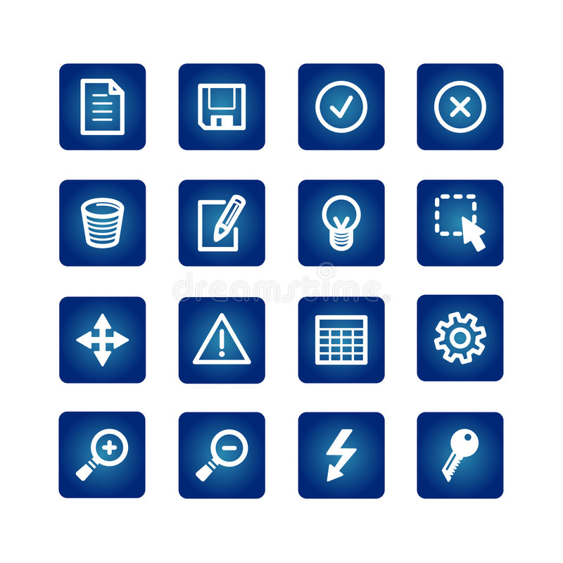 Interface icons set. On the blue background vector illustration