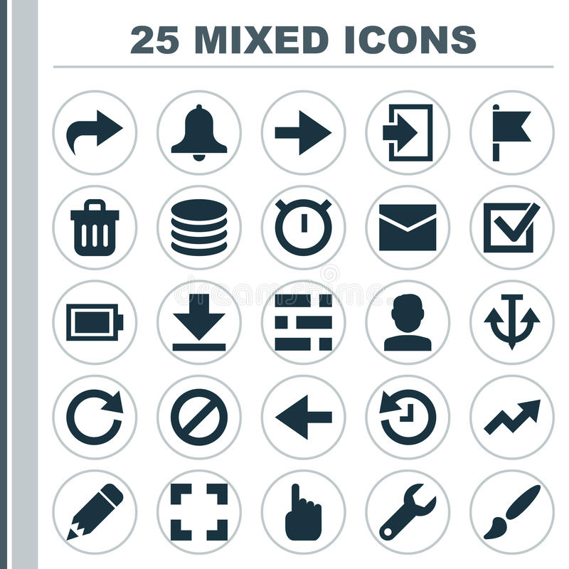 Interface Icons Set. Collection Of Armature, Db, Siren And Other Elements. Also Includes Symbols Such As Light, Ban. Interface Icons Set. Collection Of Armature stock illustration