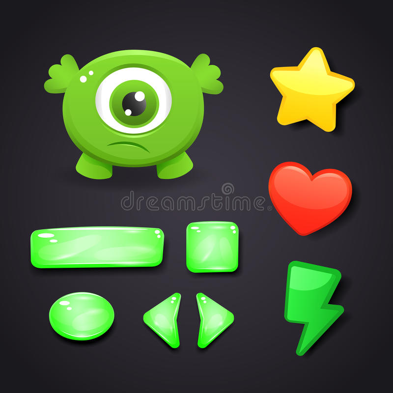 Interface icons set for game design with monster. Interface icons set for game design with resources and monster royalty free illustration
