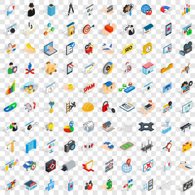 100 interface icons set, isometric 3d style. 100 interface icons set in isometric 3d style for any design vector illustration vector illustration