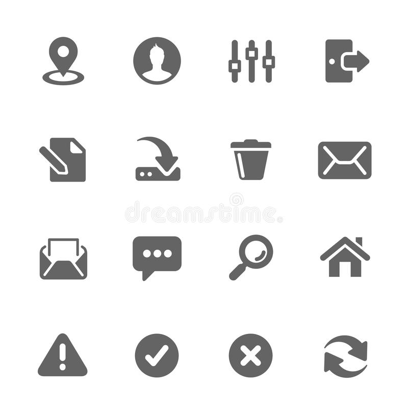 Interface icons. Set of most used interface icons vector illustration