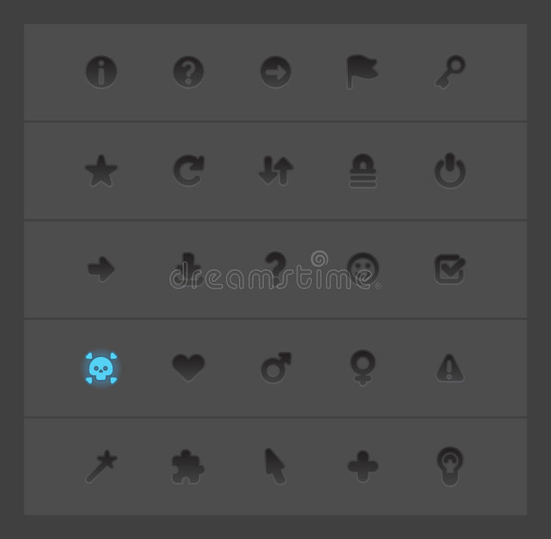 Interface icons for signs. And symbols. Vector illustration royalty free illustration