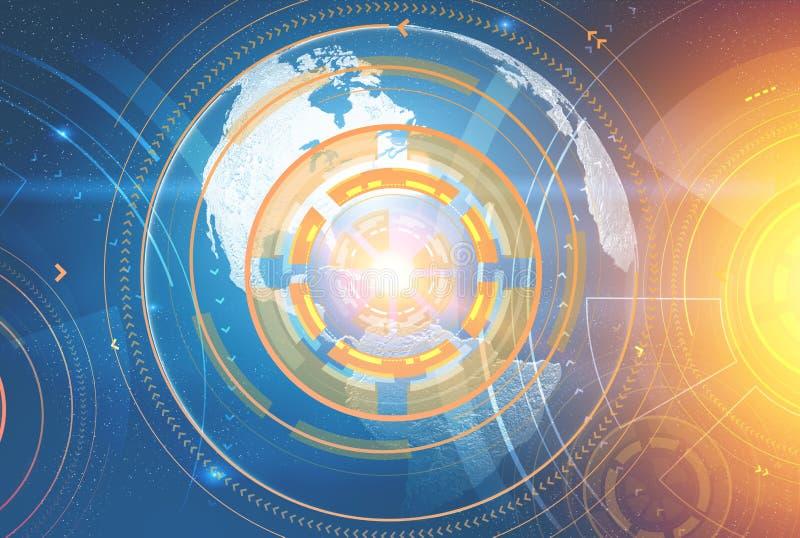Interface immersive orange, la terre de planète dans l'espace image libre de droits