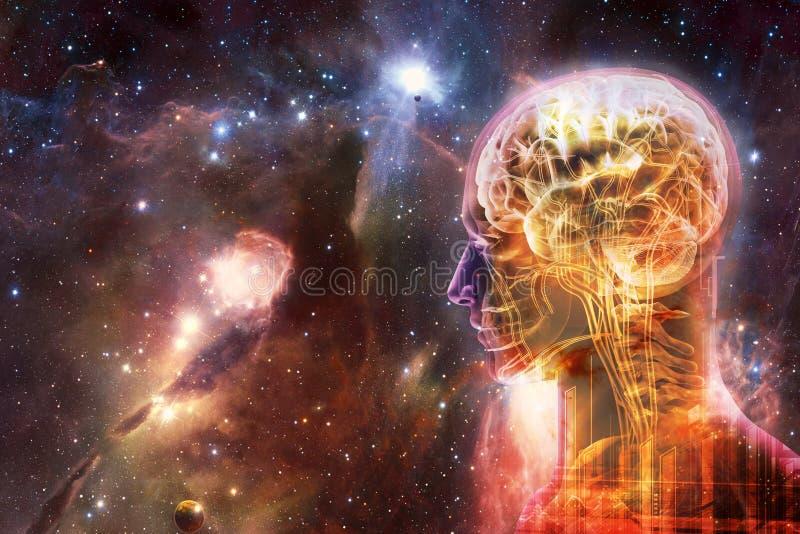 Interface intelligente artificielle humaine d'or moderne de résumé artistique à un bel arrière-plan doux multicolore de galaxie photos stock