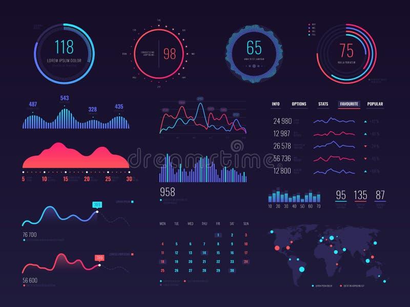 Interface intelligente de vecteur de hud de technologie Écran de données de gestion du réseau avec des diagrammes et des diagramm illustration stock