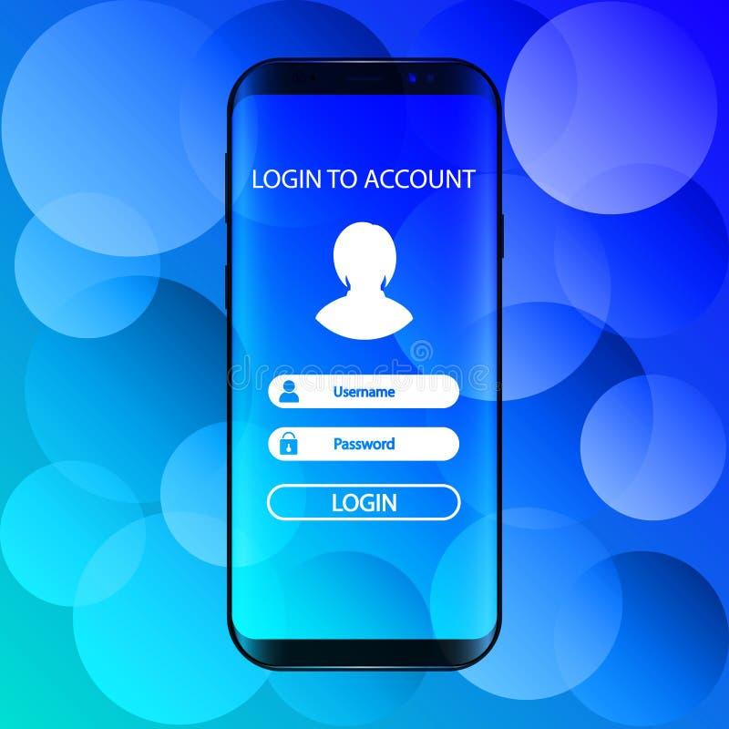 Interface Login aan rekening in smartphone vector illustratie