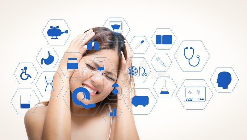 Interface médicale avec la femme d'Asiatique de mal de tête illustration de vecteur