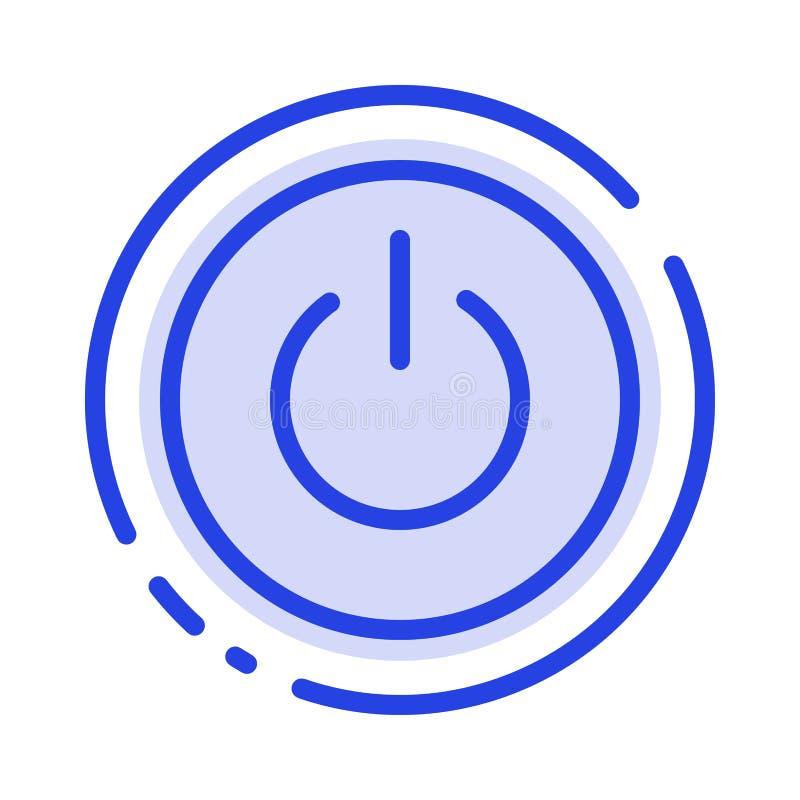 Interface, Macht, Ui, de Lijnpictogram van de Gebruikers Blauw Gestippelde Lijn stock illustratie