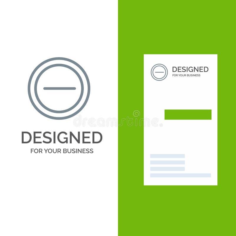Interface, Minus, Gebruiker Grey Logo Design en Visitekaartjemalplaatje stock illustratie