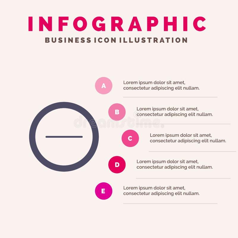 Interface, Minus, Gebruikers Stevig Pictogram Infographics 5 de Achtergrond van de Stappenpresentatie stock illustratie