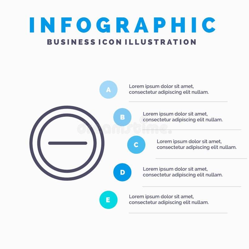 Interface, Minus, het pictogram van de Gebruikerslijn met infographicsachtergrond van de 5 stappenpresentatie royalty-vrije illustratie