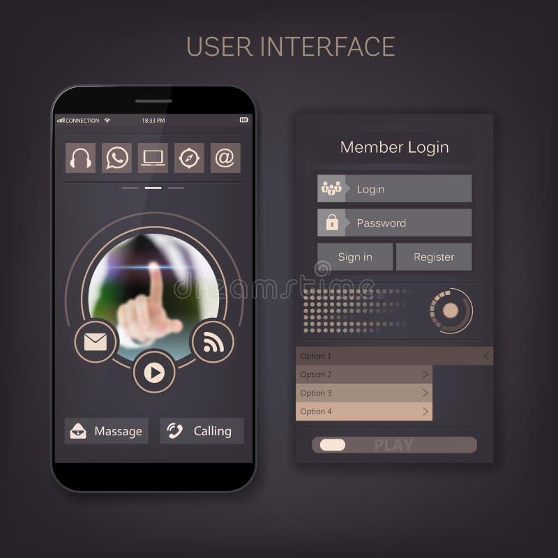 Interface mobile de forme de kit d'ui d'utilisateur de vecteur Pour la page Web, barre de site, icône plate d'art, thème de conce illustration de vecteur