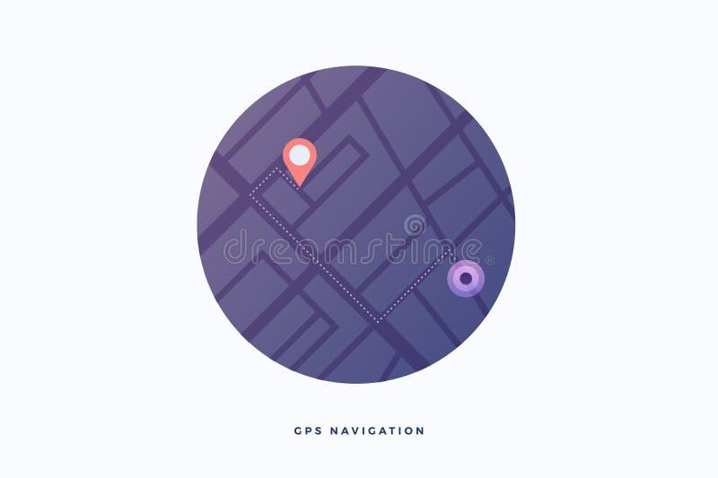 Interface moderne pour la navigation de GPS Plan mobile des rues de ville pour des smartphones ou des ordinateurs illustration stock