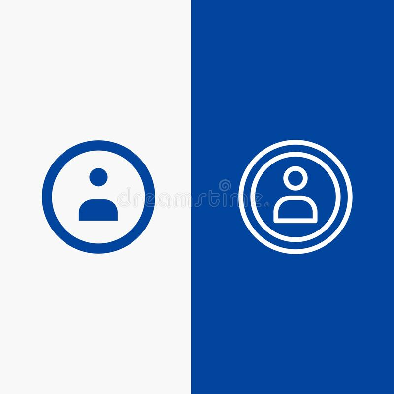 Interface, Navigatie, Gebruikerslijn en Lijn van de het pictogram Blauwe banner van Glyph de Stevige en Stevige het pictogram Bla vector illustratie