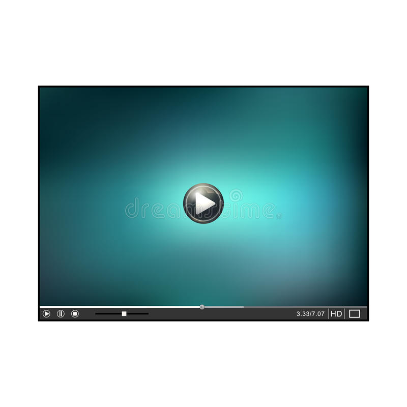 Interface. Online Player template. Video Player interface. Player on white background. Vector illustration royalty free illustration