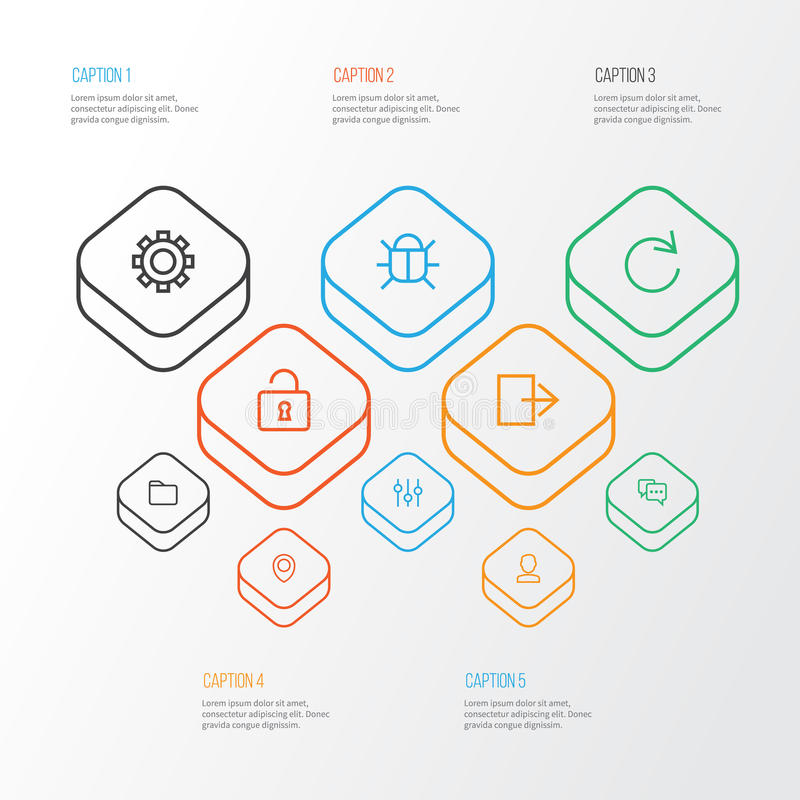 Interface Outline Icons Set. Collection Of Stabilizer. Unlock, Log Out And Other Elements royalty free illustration
