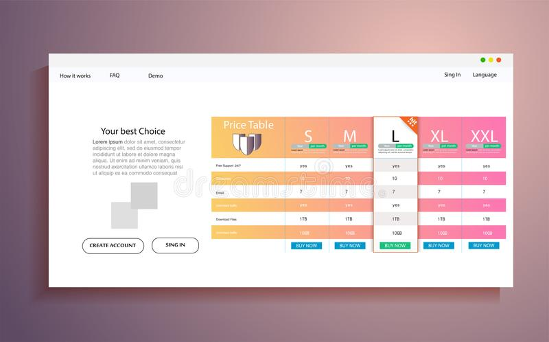 Interface for the site. ui ux vector banner for web app. Pastel pricing table, banner, order, box, button stock illustration
