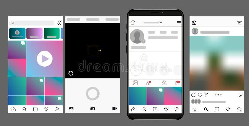 Interface sociale de media Vecteur de cadre de photo pour l'application Calibre de Web Media social concept et interface illustration libre de droits