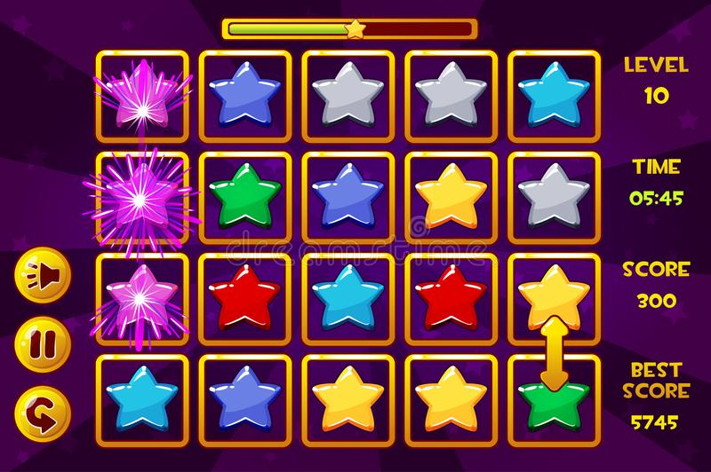 Interface STAR Match3 Games. Multicolored stars, game assets icons and buttons stock illustration