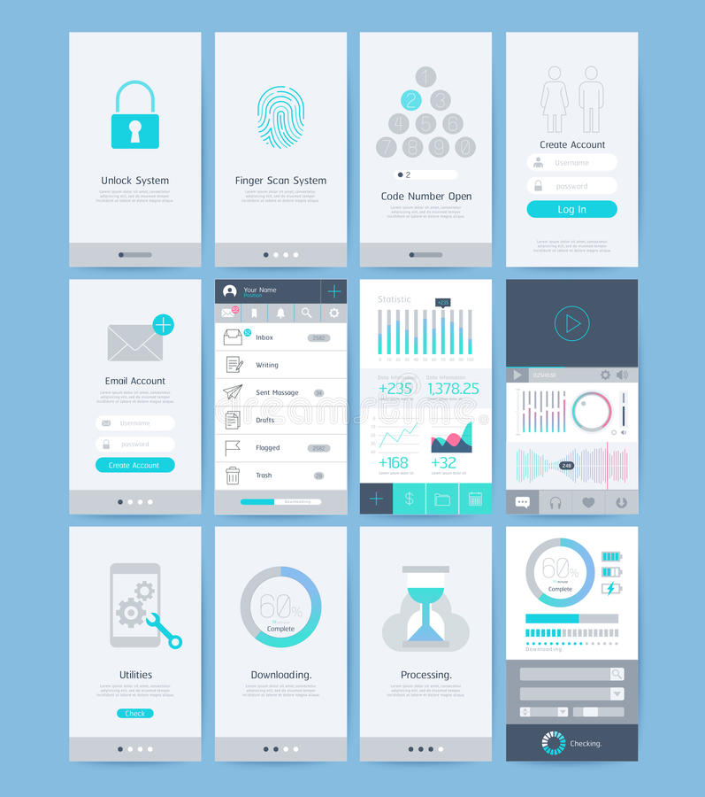 Interface and UI design elements. Vector illustrations stock illustration