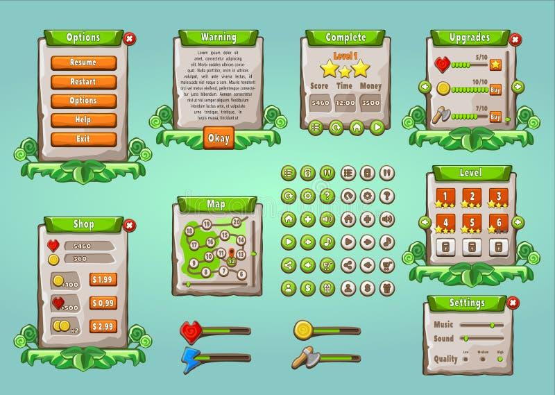 Interface utilisateur graphique réglée dans le style naturel illustration stock