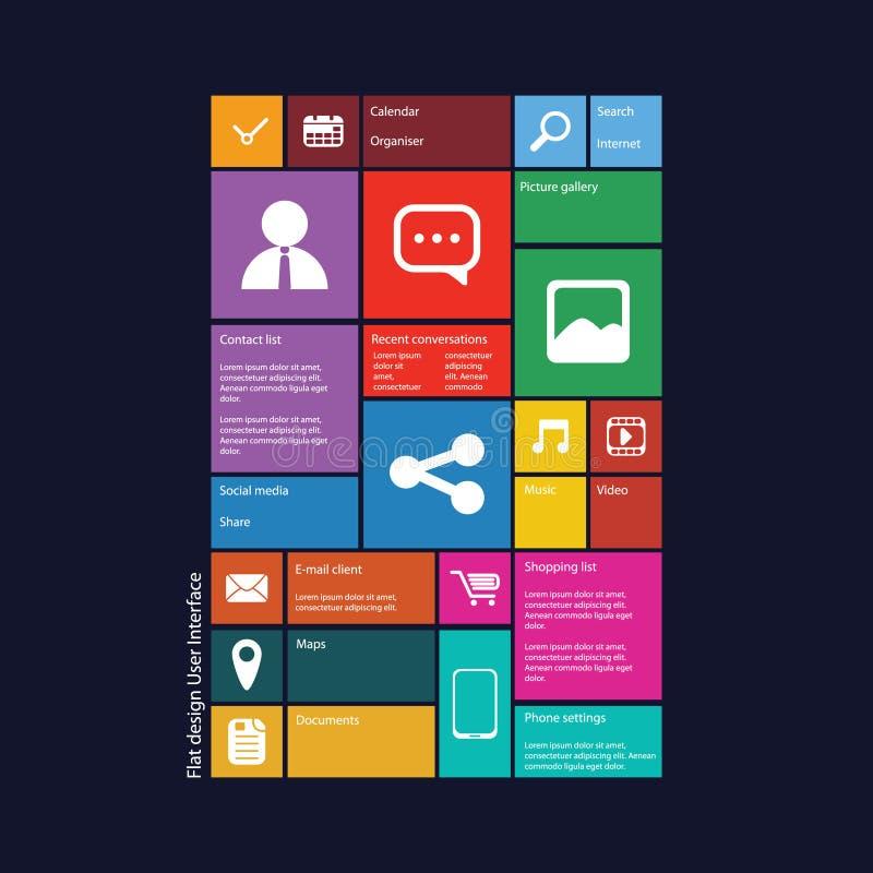 Interface utilisateurs graphique de conception plate illustration stock