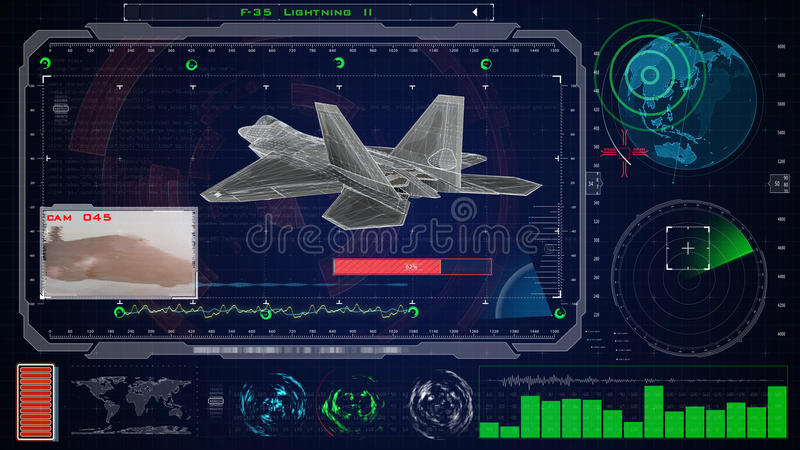 Interface utilisateurs graphique virtuelle bleue futuriste de contact HUD Avion du jet f 22 photo stock