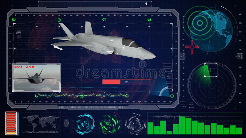 Interface utilisateurs graphique virtuelle bleue futuriste de contact HUD Avion du jet f 22 photographie stock libre de droits
