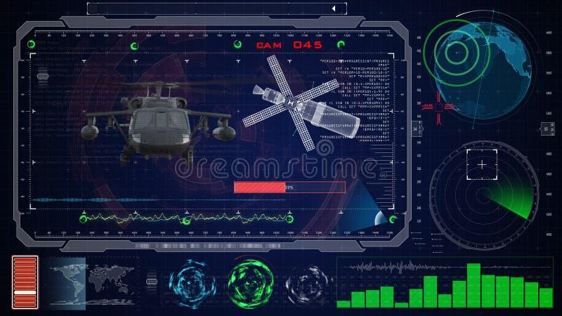 Interface utilisateurs graphique virtuelle bleue futuriste de contact HUD Faucon militaire de noir d'hélicoptère d'armée images stock
